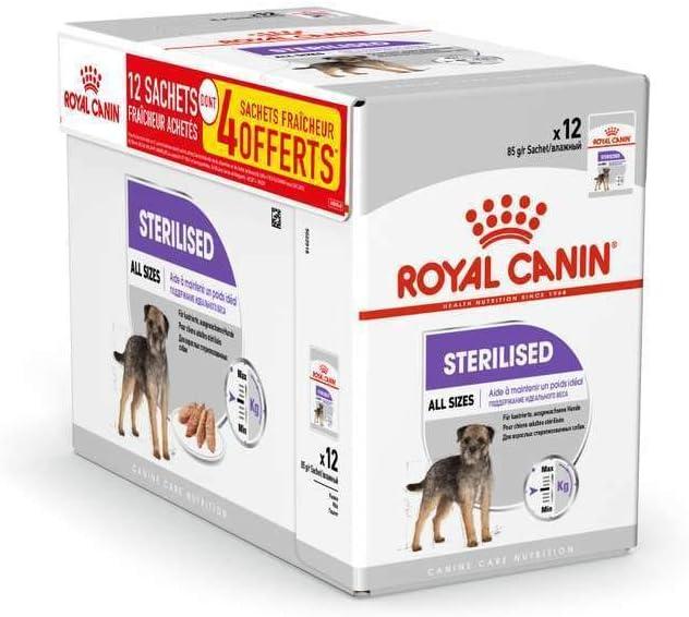 ROYAL CANIN STERILISED Paté para Perros Esterilizados, Caja Completa 12 x Sobres 85 gr