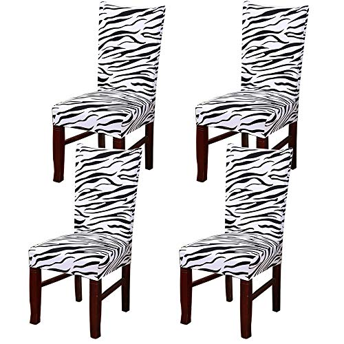 LTUPWF Modern Stretch Dining Chair Slipcovers Universal Spandex Dining Room Chair Covers Banquet Chair Seat Protector Removable Washable Chair Protective Covers Washable (Zebra Pattern, 4 - Zebra Slipcover