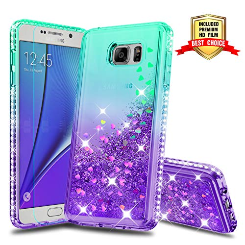 Galaxy Note 5 Case Galaxy Note 5 Cases with HD Screen Protector, Atump Fun Glitter Liquid Sparkle Diamond Cute TPU Silicone Protective Phone Cover Case for Samsung Galaxy Note 5 Green/Purple
