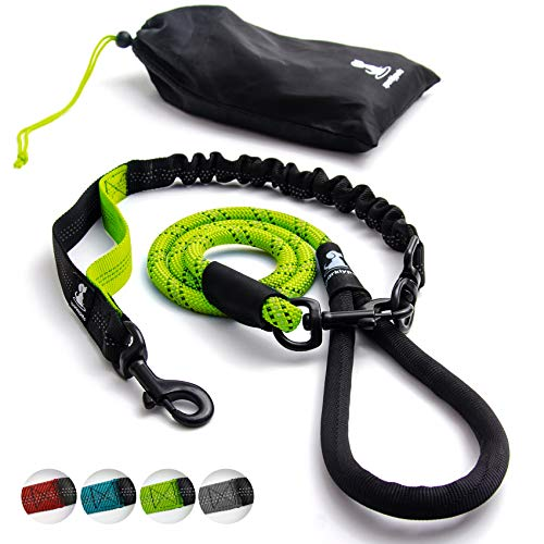 SparklyPets Heavy Duty Rope Leash for Large and Medium Dogs with Anti-Pull Bungee for Shock Absorption - No Slip Reflective Leash for Outside – Suitable for Dog Training and Walking (Green)