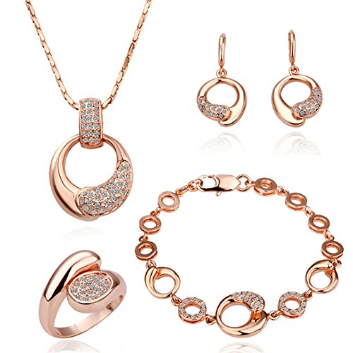 Rotgold schmuck damen  Kola - Schmuckset 18K Plattiert Damen Halskette Ohrringe Ring ...