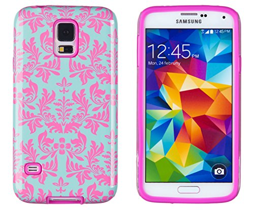 DandyCase 2in1 Hybrid High Impact Hard Sea Green Flower Pattern + Pink Silicone Case Cover For Samsung Galaxy S5 i9600 - Includes DandyCase Keychain Screen Cleaner