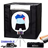 Dimmable LED Photo Studio Shooting Tent Light box Kit 32x32 inch (80x80cm) Tabletop Photography Lighting Shoot Cube Box with Dimmer,Mini Tripod and 3 Colors PVC Backdrops