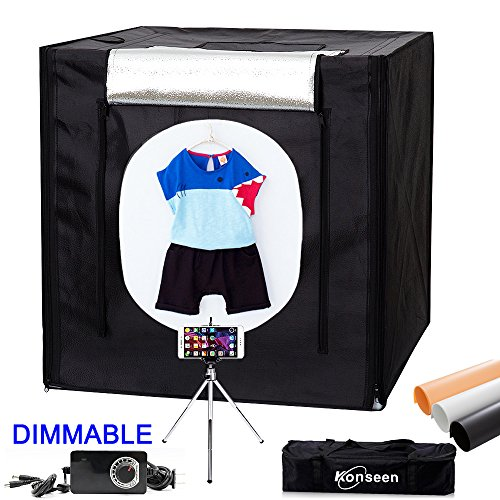 Dimmable LED Photo Studio Shooting Tent Light box Kit 32x32 inch (80x80cm) Tabletop Photography Lighting Shoot Cube Box with Dimmer,Mini Tripod and 4 Color Backdrops by Konseen