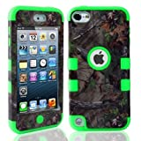 Lantier For iPod Touch 5th Case,Plastic 3 Layer TUFF Hard Cover Camo Triple Hybrid Silicone Quakeproof Drop Resistance Protective Shell Case for iPod Touch 5 5th Generation with Screen Protector and Stylus Pen Brown Branch/Green