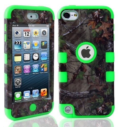 Brown Ipod Touch (Lantier For iPod Touch 5th Case,Plastic 3 Layer TUFF Hard Cover Camo Triple Hybrid Silicone Quakeproof Drop Resistance Protective Shell Case for iPod Touch 5 5th Generation with Screen Protector and Stylus Pen Brown Branch/Green)