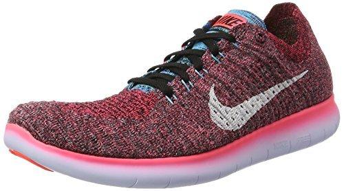 NIKE Mens Free Run Flyknit Running Shoes (13 D(M) US, Hot Punch/White-Black) (Free Nike Run White)