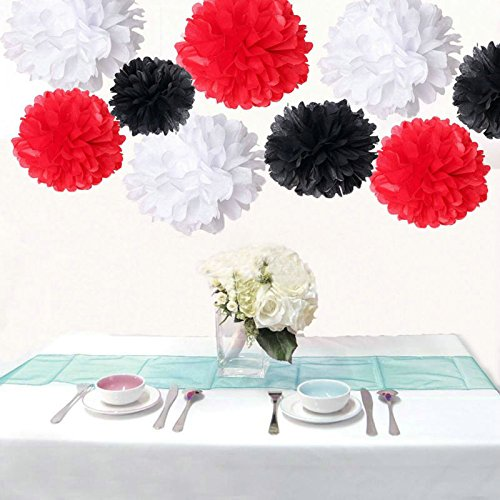 Saitec ® 18PCS Mixed 3 Sizes White Red Black Tissue Paper Pom Poms Pompom Wedding Birthday Party Decoration Baby Shower Favors