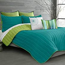 Laurel Reversible Bedding 3 Piece Quilt Set, Teal Lime, Queen