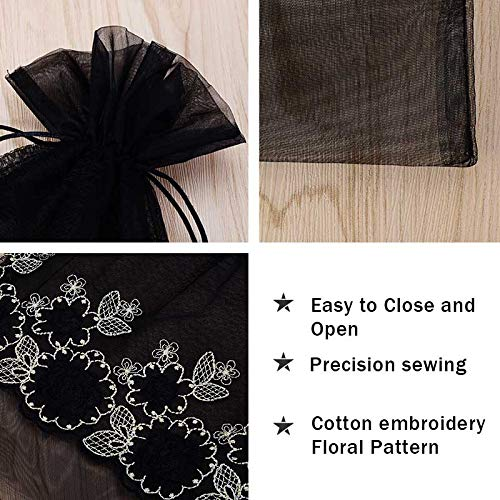 93144fab848b VU100 Organza Bags 10x14 Drawstring Gift Bags, Premium Floral Lace Large  Storage Mesh Bags, for Jewelry Candy Wedding Party Favors Bags (2 Bags, ...
