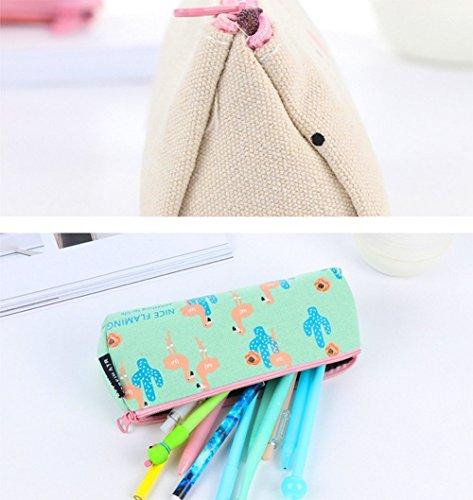 fablcrew Bleistift Stift Tasche Canvas Cartoon Flamingo Muster Make-up Tasche Münzfach Set von 4