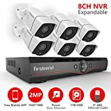 Firstrend [Expandable] 8CH POE Camera System with 6 x 1080P HD Security Camera, Plug and Play Home Security Camera System with Pre-installed 1TB Hard Drive, Free APP and Night Vision