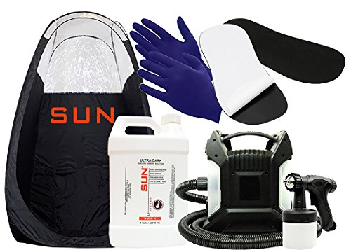 Sun Laboratories Sunless Spray Tan Machine - At Home Airbrush Tanning System with Tent, Dark Spray Tan Solution, Gloves + Sticky Pads for Feet - Natural Sunless Airbrush, Body and Face for Bronzing -