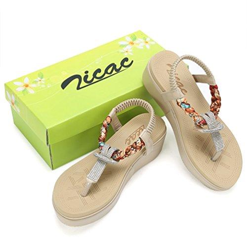 con Sandali Infradito Zicac Bohemian Ethnic Stile Beige Roman Alto Spiaggia Zeppa Piattaforma Scarpe Estate Chic Bead Toe Scarpe Tacco Antiscivolo Strass di New Peep ZRBRXFr