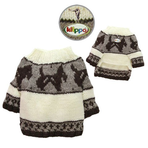 Klippo Pet KSW097LZ Brown Doggies & Pattern Sweater Hand Knitted Large