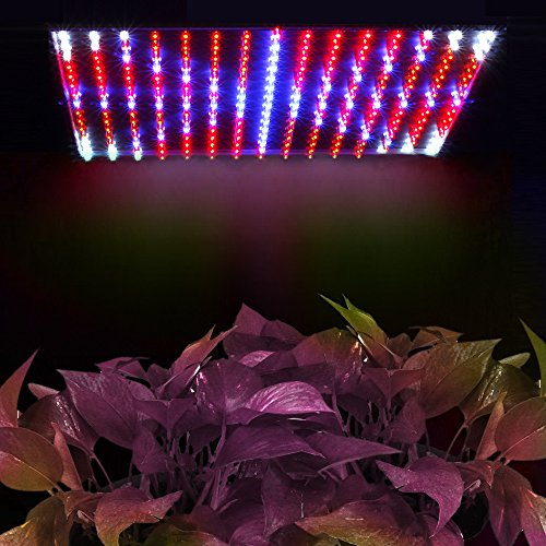 Flexzion 225 LED Grow Light Panel Blue + Red 14 Watt Hydroponic Plant Lamp For Indoor Garden Flowers Vegatables Greenhouse Growing System with Hanging Kit and UV Meter