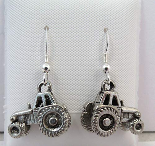 Pewter Tractor Charms on Sterling Silver Ear Wire Dangle Earrings- 5189 for Jewelry Making Bracelet Necklace DIY Crafts