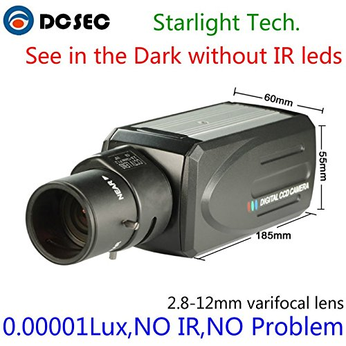 HD 700TVL 960H Low Light Night Vision Full Color Analog CCTV Box Camera Zoom Varifocal lens 2.8-12mm