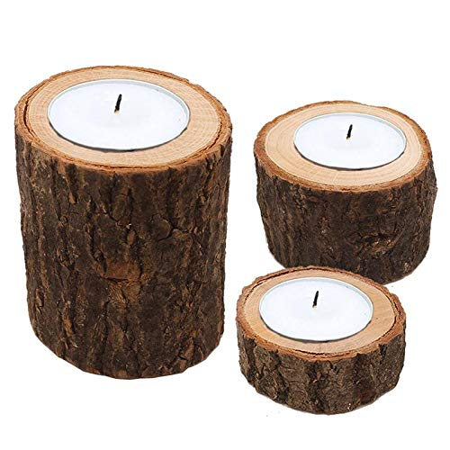 Candle Holders - 3pcs Wooden Candle Stands Bark Pattern Simulation Ative Creative Flower Pot Candlestick Ornament - Mosaic Lamp Blue Bulk Moroccan Dark White Large Engraved Candles -