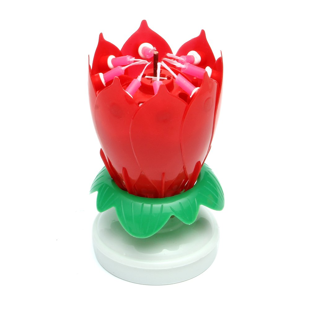 Chunshop Rotary Happy Birthday Music Candle Novelty Blooming Lotus Flower Party Lighting Decoration (Red)