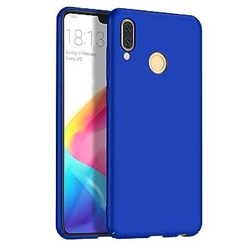 Funda Huawei P20 Lite, Apanphy Alta calidad Ultra Slim Hard sedoso Scrub Shell plena protección trasera piel siento cover para Huawei P20 Lite Azul