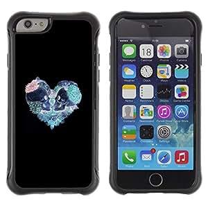 ZAKO CASE - Corazón trullo rosa cráneo amor Negro - Apple Iphone 6 - Funda Carcasa Bumper con Absorción de Impactos Slim Rugged Armor -