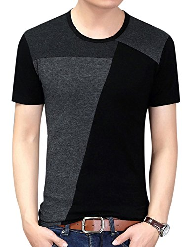 Yong Horse Men Summer Soft Elasticity Slim Fit Block Stitch Crew Neck Short Sleeve Jersey T Shirt (S, Grey)
