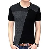 Men Summer Soft Elasticity Slim Fit Block Stitch Crew Neck Short Sleeve Jersey T shirt
