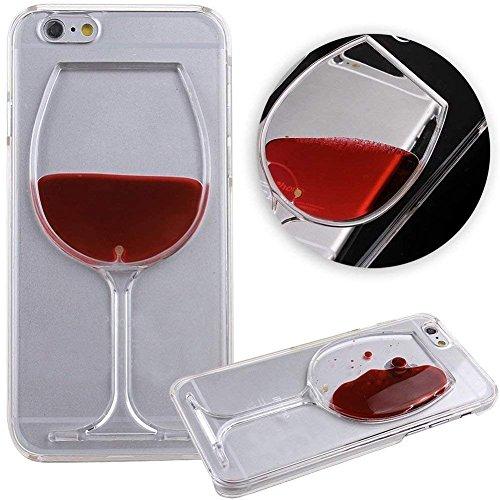 [Liquid Glitter] Diamond Sandglass Goblet Floating Bling Sparkle Red Wine Goblet Liquid Case for Apple iPhone XR 6.1 Inch 2018 Release (Red Wine)