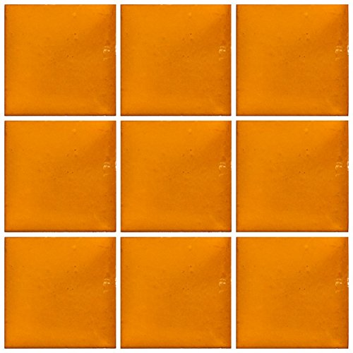 """Ceramic Talavera Mexican Tile 4x4"""", 9 Pieces (NOT Stickers) A1 Export Quality! - Orange"""