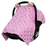 JLIKA Baby Car Seat Canopy Cover - Infant Canopy Cover for newborns infants babies girls boys best shower gift for carseats (Pink Gold Polka Dots)