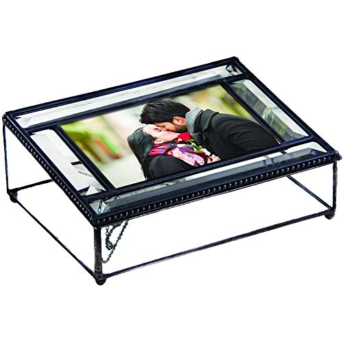 (J Devlin Pbox 354 Photo Storage Box Beveled Glass Decorative Keepsake Picture Box Trinkets Mementos 4 x 6)