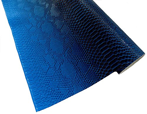 (Blue Snake Skin Embossed Weatherproof Faux Leather Fabric, Stiff Material Leather.wide 54'' Sold By Separate Half Yard (1.5ft x 54
