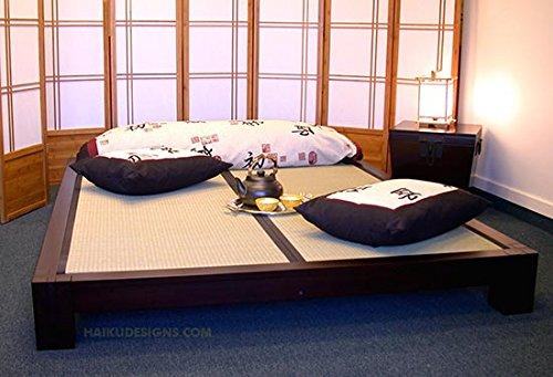 Raku Japanese Style Tatami Platform Bed In Dark Walnut