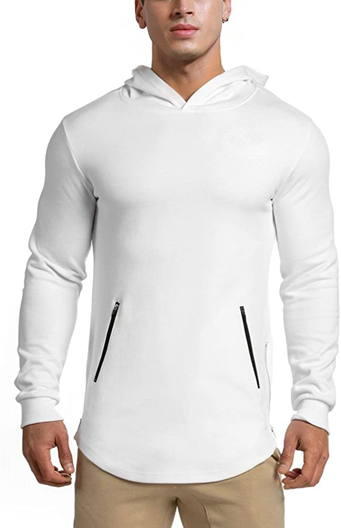 LANGCHEN Mens Gym Workout Hoodie Training Sports Pullover with Zipper Pockets Hoody