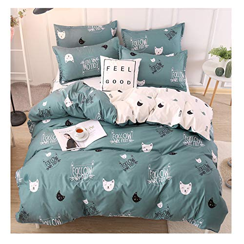 Rayhoo Bed Set Full Sheets Set Cute Cat - 3 Piece Bedding Sets One Comforter Cover Two Pillowcase- Ultra Soft Microfiber Teen Bedding for Girls Bedroom(Without Quilt) (Cute cat,Green, Full,80''x86'')