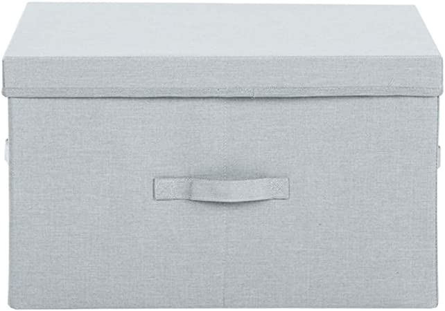 HSBAIS Plegable Cestas de Almacenamiento Cajas de Almacenamiento, Tela Oxford y Asas Caja de Tela para Almacenaje con la Tapa Cubos de Tela para Hogar, Oficina,Blue_45x35x25cm: Amazon.es: Hogar