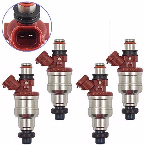 KingFurt Set of 4 pc Fuel Injectors for Toyota 4Runner Pickup 89-95, T100 93-94 22RE 2.4L ()