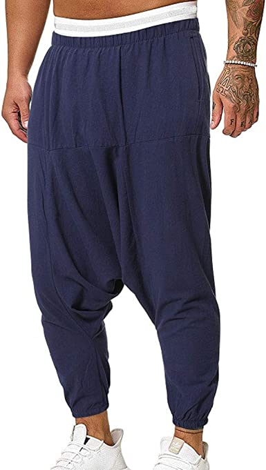 Hombres Cintura Elástico Pantalones Carga con Bolsillos Cómoda ...