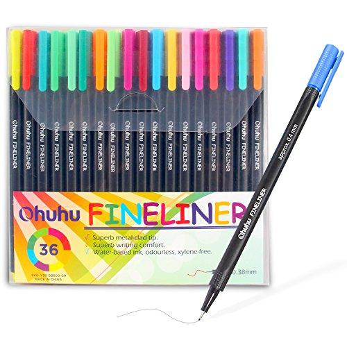 Ohuhu 36 Colors Fineliner Pens, 0.4mm Colored Fine Line Marker Marking Pen for Journal Book Sketch Drawing Fine Liner Coloring Book -