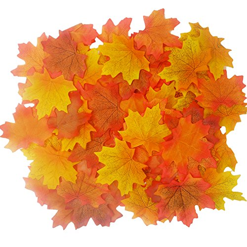 LEFV™ Rich Fall Colored Silk Maple Leaves for Autumn Weddings Events Table Scatters and Decorating, Pack of 200, Mixed Orange (Fall Outdoor Decorating)