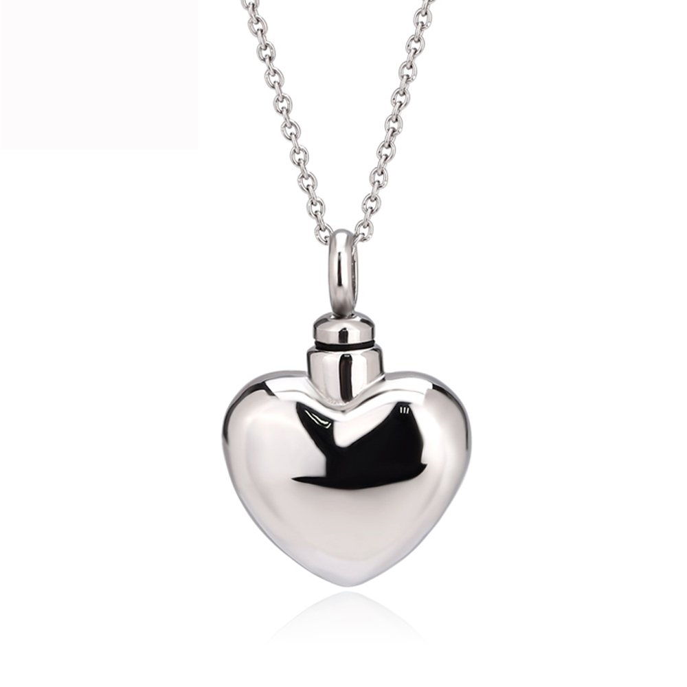 UNY Trendy Stainless Steel Cremation Jewelry Heart Ash Pendant Urn Necklace Memorial Keepsake Jewelry (Stainless-Steel)