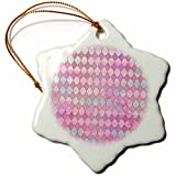 3dRose Uta Naumann Faux Glitter Pattern - Luxury Shiny Gold and Pink Moroccan Arabic Quatrefoil Tile Pattern - 3 inch Snowflake Porcelain Ornament (orn_266901_1)