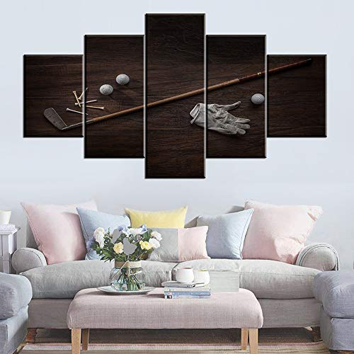 House Decorations Living Room Vintage Golf Club Pictures White Ball Paintings 5 Piece Prints on Canvas Golfing Wall Art Contemporary Artwork Wooden Framed Gallery-Wrapped Ready to Hang(60