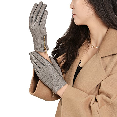 GSG Womens Imported Spanish Perforated Goat Nappa Leather Gloves Zipper Driving Gloves 6.5 Grey
