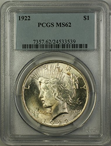 1922 Peace Silver Dollar Coin (ABR12-N) $1 MS-62 PCGS