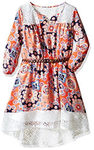 My Michelle Big Girls' Printed Peasant Dress with Crochet Lace Yoke and Hem with Belt, Coral, 16 (Clothes My Michelle)