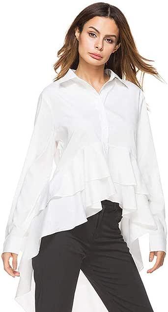 ROCONAT - Blusa de Manga Larga con Cola de Golondrina Irregular para Mujer - Blanco - Large: Amazon.es: Ropa y accesorios