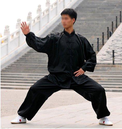"Tai Chi Uniform (Clothing) - White, Red, Blue and Black (X-Large(6'2"" - 6'5"" & 200 - 230 lbs), Black)"