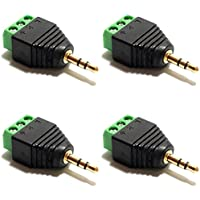 CESS 3.5mm Stereo Balanced Male Plug/Female Jack to AV Screw Video Balun Terminal (LW) (4 Pack)